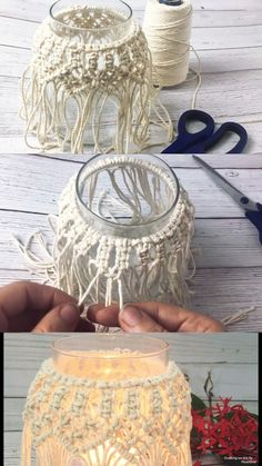 DIY Macrame Candle Holder Tutorial – Crafting on the Fly – Macrame – Diy Pot Mason Diy, Mason Jar Crafts, Mason Jar Projects, Decor Crafts, Home Crafts, Diy Decorations For Home, Candle Decorations, Diy Crafts For Home Decor, Crochet Home Decor