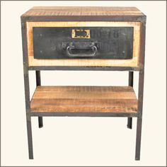 Industrial Mango And Iron 2 Tier End Table