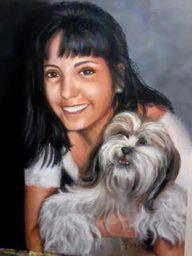 retrato de Iara e Titi - acrílico sobre tela 30x40cm