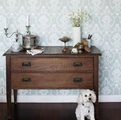 Flannel flower damask wallpaper in white on sage.. + table top setting