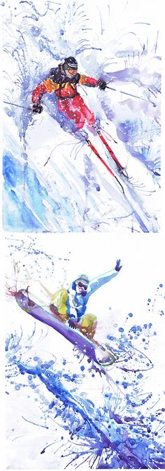 Snowboarder sports art print watercolor painting boys by ValrArt