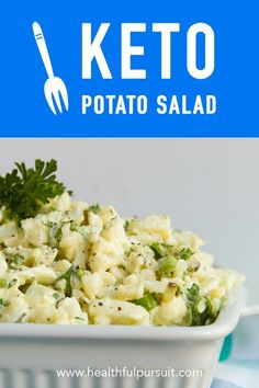 """A paleo and keto """"potato"""" salad... with no potatoes at all! Made with clean low-carb, keto ingredients. Can be made vegan, too. #keto #salad #greens #paleo #lowcarb #ketosis #ketogenic #recipe"""