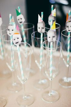 love this! photo + straws, would probably pull stupid faces or print a pic of each guest! Adult birthday party ideas