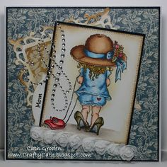 <3 Cathabella created a beautiful card around Mo Manning for Stamping Bella - Big Shoes.  Love it!  #rubberstamps #stamping #cards #papercrafts