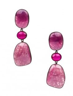 Ruby-Sapphire Drop Silver Earrings