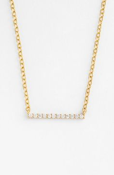 Free shipping and returns on gorjana 'Knox' Pavé Bar Necklace at Nordstrom.com. Comfortably lightweight and layerable like so many gorjana designs, this necklace sparkles with a row of pavé-set cubic zirconia that plays off the gleaming gold plating.