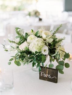The Perfect Summer Wedding in Maine Rose, hydrangea and greenery wedding flowers: www. Greenery Centerpiece, Wedding Table Centerpieces, Wedding Flower Arrangements, Floral Centerpieces, Wedding Bouquets, Centerpiece Ideas, Hydrangea Wedding Flowers, Fishbowl Centerpiece, Flower Centrepieces