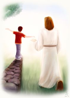 The boy playfully balances himself over a stonewall as he shares with God the things that had happened that day, his thoughts, and his feelings. A Closer Walk Image Jesus, Jesus Christ Images, Jesus Art, Jesus Father, Jesus Is Lord, Jesus Is Risen, Jesus Loves, Jesus Cartoon, Prophetic Art
