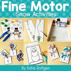 This Snow Fine Motor Activities is perfect for PreK, Kindergarten or homeschool students. This pack includes ten fine motor snow-themed activities to use during small groups, morning tubs, centers, stations and more. Includes paper tearing, cutting activities, gluing with liquid glue, pokey pin pages, tweezing, pattern blocks, tracing, shape drawing, linking & clipping. Preschoolers & Kinders will love doing these during the winter months {December & January}, holidays & Christmas.