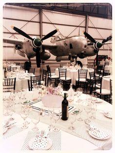 Aviation Wedding @ Yanks Air Museum next to the P-38 Lightning. Travel Theme Wedding