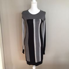 Bcbgmaxazaria Grey And Black Striped Dress