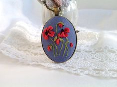 Poppy pendant Red poppy necklace Embroidery pendant Silk