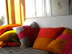 color block linen pillows