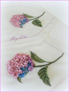 Done on cross stitch fabric? or linen Ribbon embroidery Hydrangeas