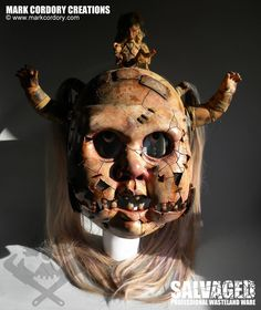 Full head 'Creepy Doll' helmet made for post apocalyptic larp. www.markcordory.com