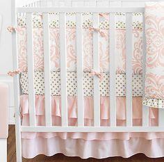 Sweet Jojo Blush Pink White Damask Gold Dot Girl Crib Baby Bedding Comforter Set