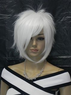 USJF630 charming short white blue black health hair WIG wigs for women in Clothing, Shoes & Accessories, Women's Accessories, Wigs, Extensions & Supplies   eBay