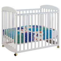 from $108  Best Mini Crib Short on space? Reap the benefits of a full-fledged crib in half the size with a mini crib, like this one from DaVinci. Not only does it rock (which a regular crib can't), the compact design fits through standard doors and sits on wheels so you can easily move it from room to room.