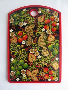 FREE SHIPPING Russian folk art Khokhloma hand by NadinArtShop