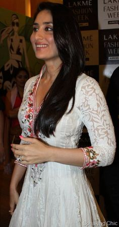 """#Desi #SS13 #Fashion"""" Kareena in an elegant white chikan suit with colorful embroidery by manish malhotra"""