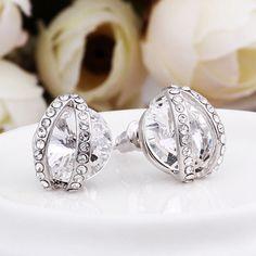 Bijoux boucles d oreilles en cristal Swarovski et Or blanc 18K * PE493 + BOX