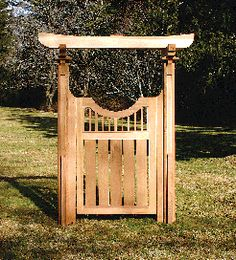 The Tori Gate   Our interpretation of the Japanese Tori Gate creates an elegantly simple accent for any garden or entryway.  Shown here with our Privacy Gate One, this piece would also work very well with any of our other gate and extension styles as referenced in the Arbor Gates and Extensions section.