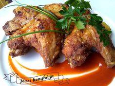 Tepsis csirkeszárnyak Tandoori Chicken, Bacon, Pork, Beef, Ethnic Recipes, Kale Stir Fry, Meat, Pork Chops, Pork Belly
