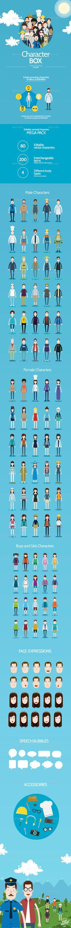 Character Box Vector Design Template- People Characters Template Vector EPS, Ai Illustrator. Download here: https://graphicriver.net/item/character-box/9647035?ref=yinkira