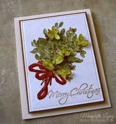 Layered and watercolored Mistletoe from Serendipity Stamps  marybethstimeforpaper.blogspot.com