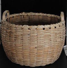 Antique Oak and Reed half-bushel Apple Basket