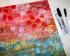 ARTchix Studio: Fun Painted Backgrounds - done with bubble wrap & old container lids  #art #journal