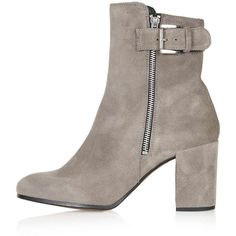 TopShop Mega Buckle Boots (355 BRL) ❤ liked on Polyvore featuring shoes, boots, ankle booties, topshop, grey, short grey boots, grey ankle booties, gray ankle boots, leather bootie and grey booties