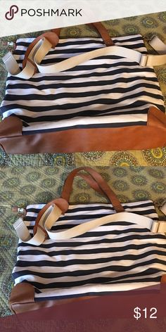 Beach bag Blue and white striped beach bag brown straps and bottom never used no tags merona Bags Totes