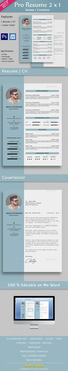 CV — Photoshop PSD #career #clean resume • Available here → https://graphicriver.net/item/cv/13509743?ref=pxcr