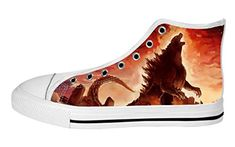 f1caca160ebe Amazon.com  Custom Classic Monster Godzilla World Design Women s High-Top  Lace-up Fashion Canvas Shoes-10M(US)  Clothing