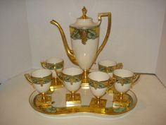 Antique Art Nouveau Willets Belleek Chocolate Pot, Tray, 6 Cups Set