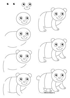 How do you draw a panda step by step pencil sketches and drawings Easy Drawing Steps, Basic Drawing, Drawing Lessons, Step By Step Drawing, Drawing Techniques, Drawing For Kids, Art For Kids, Drawing Ideas, Doodle Drawings