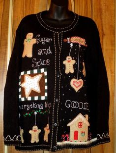 Woman's Quacker Factory Christmas Sweater - Size Large Gingerbread House #QuackerFactory #Cardigan