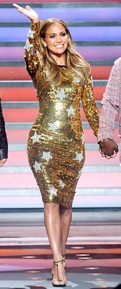 Gold star-print sequined long-sleeve Dolce & Gabbana dress ....my birthday dress :)