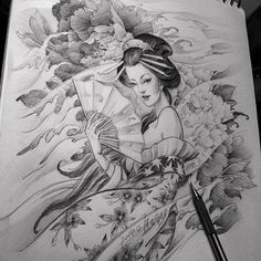 Chronic Ink Tattoo - Toronto Tattoo Geisha sketch by Master Ma.