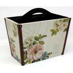 undefined Magazine Holders, Magazine Racks, Wooden Magazine Rack, Natural Interior, Home Additions, Magazine Design, Vintage Floral, Shabby Chic, Floral Design