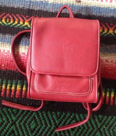 Vintage small red mini backpack by SubTropicalVintage on Etsy