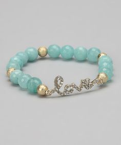 Take a look at this Mint 'Love' Beaded Stretch Bracelet by Liza Kim Accessories on #zulily today!
