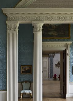 View through the Dressing room and Ante room and into the Saloon at Kedleston Hall - Plaster details for cornices, architrave & columns.