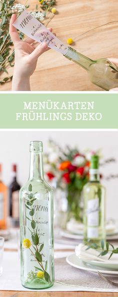 Kostenlose DIY-Anleitung mit unserem Partner Blanchet: Handlettering Menükarten in einer Flasche, Dekoidee für die Frühlingstafel / how to letter menue cards, wedding diy via DaWanda.com  // #dawandaandfriends