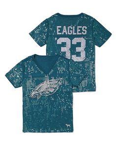 Philadelphia Eagles Sequin Football Tee.