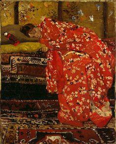 George Hendrik Breitner, Meisje in rode kimono: Geesje Kwak, 1893-95, olieverf op doek, 62.4 x 50.7 cm, particuliere collectie, Amsterdam