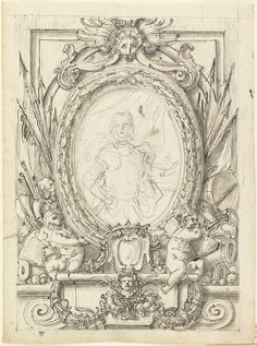 """Tombstone:  Drawing, """"Design for a Panel with Portrait of a Nobleman"""", c. 1750.  c. 1750. Brush and gray wash, pen and black ink, black chalk on paper.Smithsonian. Cooper-Hewitt, National Design Museum  (resized, printed on water colour paper, inside cut out and replaced with a portrait and Bob's your Uncle)"""
