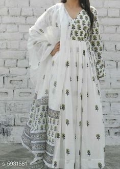Checkout this latest Dupatta Sets Product Name: *Women's Floral Long Anarkali Kurta with Dupatta* Kurta Fabric: Cotton Cambric Fabric: Cotton Sleeve Length: Three-Quarter Sleeves Pattern: Printed Set Type: Kurta with Dupatta Stitch Type: Stitched Multipack: Single Sizes:  M (Bust Size: 38 in)  L (Bust Size: 40 m)  XL (Bust Size: 42 in)  XXL (Bust Size: 44 in)  XXXL Easy Returns Available In Case Of Any Issue   Catalog Rating: ★4.3 (1974)  Catalog Name: Women Rayon High- Slit Solid Long Kurti With Palazzos CatalogID_896910 C74-SC1853 Code: 296-5931581-8481