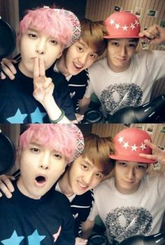 super junior's ryeowook with exo's d.o and chen @Brooke Williams Williams Hausotter lol he has pink hair!! XP